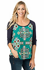 Moa Moa Women's Teal with Multicolor Aztec Print 3/4 Sleeve Top