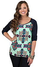 Moa Moa Women's Mint with Multicolor Aztec Print 3/4 Sleeve Top