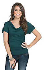 Moa Moa Women's Solid Deep Teal Dolman Top