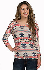 Moa Moa Women's Oatmeal with Colorful Tribal Print Long Sleeve Hooded Top