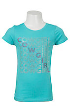 09 Apparel Girl's Aqua Rhinestone Cowgirl Short Sleeve Tee
