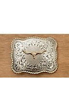 AndWest Antiqued Silver Scrolling with Gold Longhorn Belt Buckle