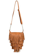 Camel Tiered Fringe Purse