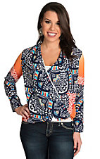 Renee C. Women's Coral and Navy Ombre Print Top