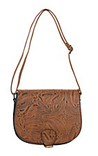 nuG Cognac Floral Tooled Cross Body Purse