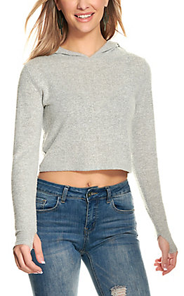 Suzette Women's Heather Grey Long Sleeve Cropped Hooded Top