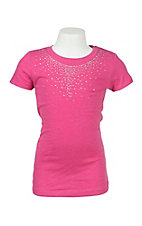 Lore Mae Girl's Pink with Rhinestone Neckline Short Sleeve Casual Knit Shirt