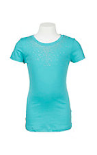 Lore Mae Girl's Turquoise with Rhinestone Neckline Short Sleeve Casual Knit Shirt