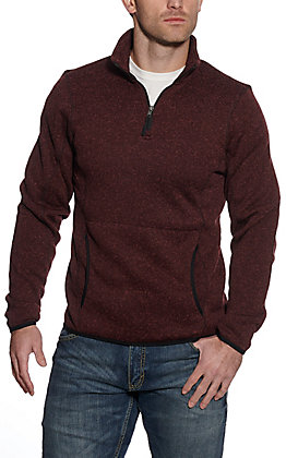 Powder River Outfitters by Panhandle Men's Burgundy Quarter Zip Pull Over