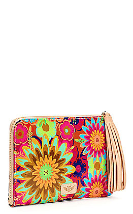 Consuela Mona Multi Sided Floral and Leopard Print with Tassel Clutch