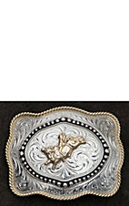 AndWest Silver Western Scroll with Gold Bull Rider & Rope Trim Scalloped Rectangle Buckle