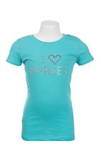 Lore Mae Girl's Aqua with I Love Horses Embellishment Short Sleeve T-Shirt