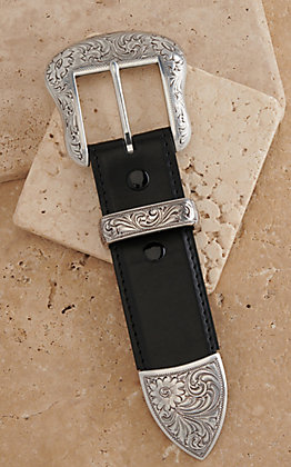 AndWest Silver Western Floral Engraved 3pc 1 1/2 Buckle Set