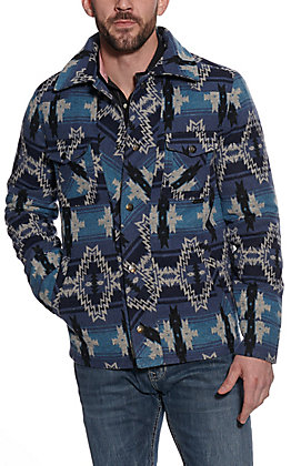 Powder River Outfitters by Panhandle Men's Blue Aztec Print Jacket