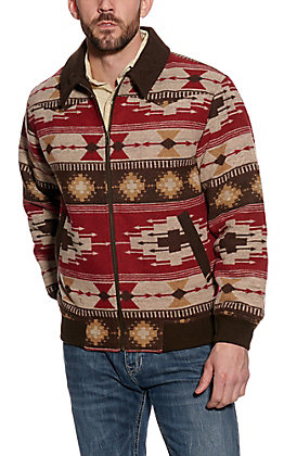 Powder River Outfitters by Panhandle Men's Brown Aztec Bomber Jacket