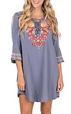 April Sky Women's Mid Blue Tie Neck with Embroidery Dress
