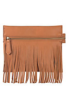 nuG Cognac with Fringe Bucket Mini Clutch with Shoulder Strap