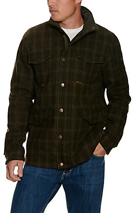 Panhandle Powder River Outfitters Men's Olive Heather Plaid Wool Coat