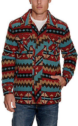 Panhandle Powder River Outfitters Men's Red, Blue, Black & Tan Aztec Print Jacket