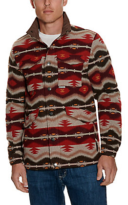 Panhandle Powder River Outfitters Men's Brown and Red Aztec Pattern Jacket
