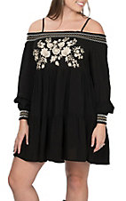 Andre Women's Black with Cream Floral Embroidery Smocked Off the Shoulder Neckline Long Sleeve Dress