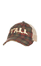 Judith March Green and Red Plaid with Gold Embroidered YALL and Tan Mesh Back Snap Back Cap