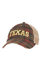 Judith March Green and Red Plaid with Gold Embroidered TEXAS and Tan Mesh Back Snap Back Cap