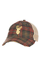 Judith March Green and Red Plaid with Gold Embroidered Deer and Tan Mesh Back Snap Back Cap