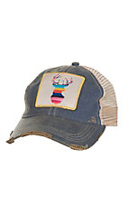 Judith March Distressed Denim with Rainbow Deer Patch and Cream Mesh Back Snap Back Cap