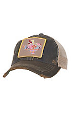 Judith March Distressed Grey Multicolored Pattern Texas Patch Mesh Back Snap Back Cap