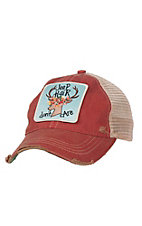 Judith March Distressed Red Jeep Hair Don't Care Mesh Back Snap Back Cap