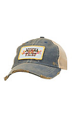 Judith March Distressed Denim with Floral Mama Tried Patch Mesh Back Snap Back Cap