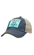 Judith March Distressed Denim Lake Hair Don't Care Patch Mesh Back Snap Back Cap