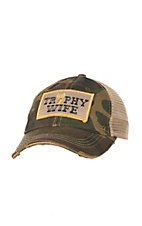 Judith March Distressed Camo with Trophy Wife Patch and Cream Mesh Back Snap Back Cap