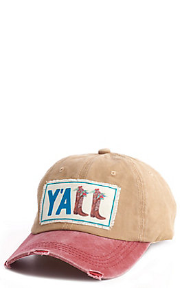 Southern Junkie Distressed Maroon and Tan Y'ALL Boots Cap