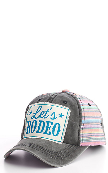 Ashlyn Rose Women's Distressed Black with Pink Serape Let's Rodeo Patch Cap