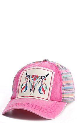 Ashlyn Rose Pink Serape Aztec Bull Patch Cap