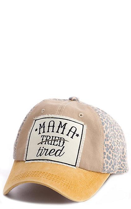 Ashlyn Rose Tan, Gold & Leopard Mama Tried/Tired Patch Cap