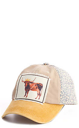Ashlyn Rose Tan, Gold & Leopard Cow Patch Cap