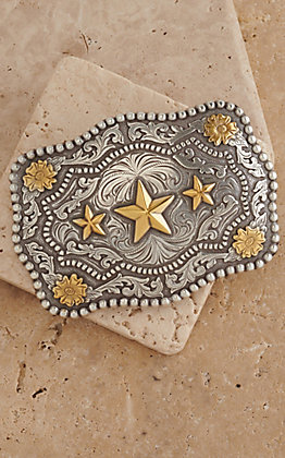 AndWest Antiqued Silver Scrolling with Gold Triple Star Belt Buckle