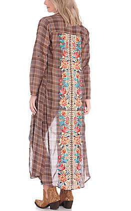 April Sky Women's Mocha and Blue Plaid Floral Embroidered Duster