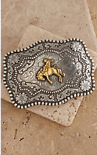 AndWest Antiqued Silver with Gold Bronc Buster Belt Buckle
