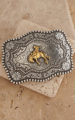 AndWest Antique Silver and Gold Bronc Buster Belt Buckle