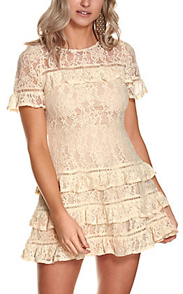 Savanna Jane Women's Natural Cream Lace Ruffle Short Sleeve Dress
