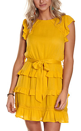 Savanna Jane Women's Marigold Yellow with Lace and Ruffle Short Flutter Sleeves Dress