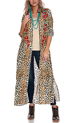 Savanna Jane Women's Leopard Print with Floral Embroidery and Pockets Duster Kimono
