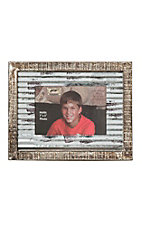 Western Moments Distressed Wood and Tin Metal Picture Frame