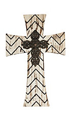 M&F Rustic White Wood Chevron w/ Iron Center Wall Cross