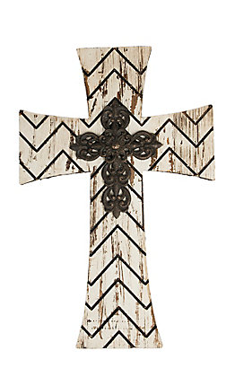 M&F Rustic White Wood Chevron with Iron Center Wall Cross