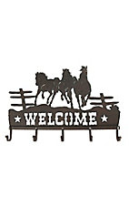 M&F Antiqued Bronze Welcome with Horses Iron Wall Hooks